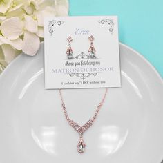 Rose Gold Bridesmaid Jewelry Set, Crystal Wedding Necklace Set, bridal jewelry set, wedding jewelry set, bridesmaid jewelry set 497220086 by AllureWeddingJewelry on Etsy