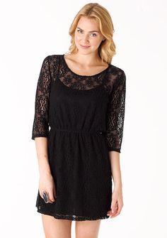 Faith Long-Sleeve Crochet Dress - love black lace!