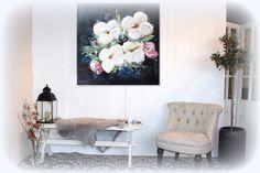 Blomstermaleri 100x100 cm.  Flowers painting delicate sart