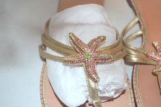 Lilly Pulitzer Size 10 Gold Leather with Rhinestoned Starfish Sandals-EUC #LillyPulitzer #FlipFlops