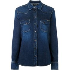 Dolce & Gabbana western denim shirt ($775) ❤ liked on Polyvore featuring tops, blue, collared shirt, cowgirl shirts, blue shirt, long sleeve denim shirt and denim snap shirt