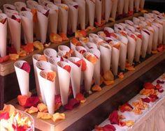 Real petals for confetti in cones...