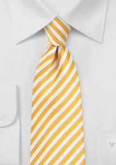 Herrenkrawatte Business-Streifen goldgelb perlweiß