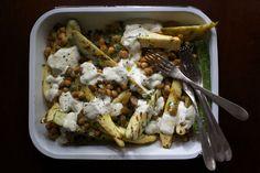 Grilled Squash with Chickpeas, Raisins + Garlic-Yogurt Sauce