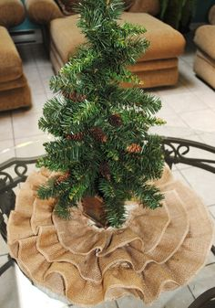 mini tree skirt for my forest around the fireplace