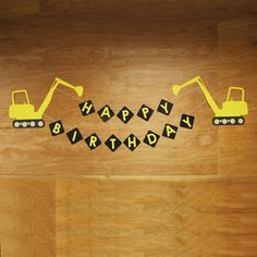 "For those kiddos who love BIG trucks and construction sites, this XL excavator banner is the perfect way to say ""Happy Birthday""! Banner can be customized to add the birthday boy, or girl's name. #constructionparty #truckparty #truckbirthday #excavatorbanner #truckpartydecor #constructionbirthday #truckpartydecor #truckbanner"
