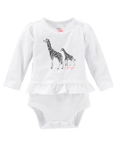 Featuring a ruffle hem, zebra graphic and embroidered slogan, she'll love this bodysuit!