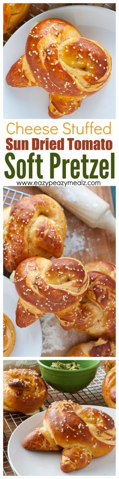 Mozzarella stuffed Soft Pretzels lightly flavored with sun dried tomatoes for a totally delicious and sophisticated, but still kid friendly snack! Way easier to make then you would think! #ad - Eazy Peazy Mealz