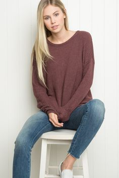 "Brandy ♥ Melville | Ollie Sweater - Just In |  $39 Super soft pullover sweater in light burgundy with thin cable knit detailing and a relaxed fit.      70% cotton, 30% acrylic     26"" length, 22"" bust     MODEL is 5'9"" with a 25"" waist.     Made In Italy     Color: Burgundy"