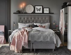 The 10 best ideas for a gray bedroom in 2019 - Schlafzimmer Gray Bedroom, Home Bedroom, Bedroom Ideas, Bedrooms, Bedroom Inspo, Bedroom Colors, Bedroom Designs, Bedroom Inspiration, Master Bedroom