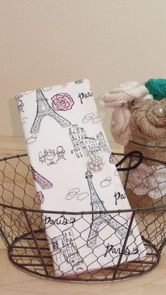 JW Jehovah's Witness tract holder with 2 pockets in Paris glitter fabric (also available in other colors-see details)
