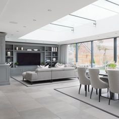Living Tv, My Living Room, Home And Living, Living Room Decor, Open Plan Kitchen Living Room, Kitchen Dining Living, Open Plan Living, Dining Area, Kitchen With Tv