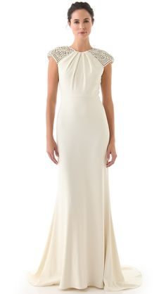 Badgley Mischka Collection Deco Cap Sleeve Gown $3000 on shopbop