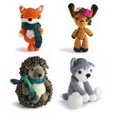 Fox, Kangaroo, Hedgehog, and Husky Amigurumi Patterns  Love the hedgehog :)