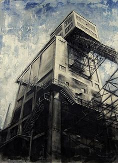 Originally from Italy, but now residing in Pennsylvania, Valerio D'Ospina is an amazing artist who paints a lot of industrial subject matter.