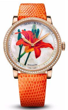 Часы Arnold & Son 1LCMP.M06A.L511A Royal Collection HM Flowers - золотые - швейцарские женские наручные часы