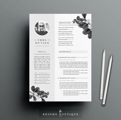 #Resume #Template 4page #CV Template Cover by TheResumeBoutique