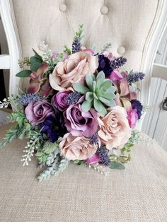 Purple and dusky pink silk wedding bouquet