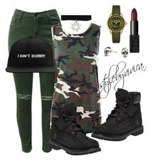 """""""Camouflage."""" by stylebyvivica ❤ liked on Polyvore featuring NARS Cosmetics, Sans Souci, Timberland, Michele and Kasun"""