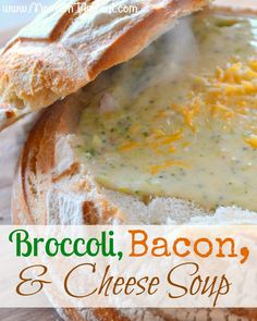 Broccoli, Bacon, and Cheese Soup - The ULTIMATE comfort food! Delicious served in a crusty, sourdough bread bowl Soup Recipes, Great Recipes, Cooking Recipes, Favorite Recipes, Frugal Recipes, Yummy Recipes, Dinner Recipes, Healthy Recipes, I Love Food