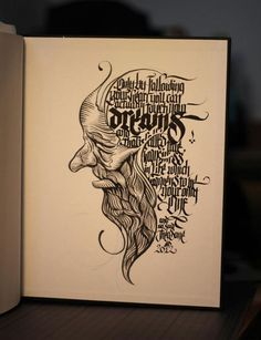 Typography + calligraphy + drawing  by: theosone