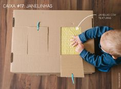20 maneiras de explorar uma caixa de papelão: atividades para bebes/janelas surpresas | 20 different cardboard box activities for babies: surprise texture window