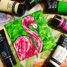 Painted with acrylic paint this mini canvas painting features a pretty abstract flamingo design Flamingo Art, Mini Canvas, Acrylic Art, Canvases, Greeting Cards, Abstract, Pretty, Artist, Artwork