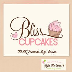Premade OOAK Logo  Cupcake and Hearts and by stylemesweetdesign, $55.00