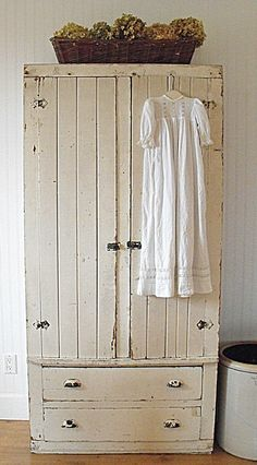 Primitive Painted Cupboard - a beautiful vintage cabinet with its original off-white paint finish and rustic hardware - via My Rustic Farmhouse