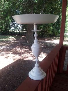 Birdbath from old lamp