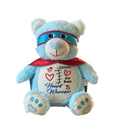Personalized  Custom Plush Teddy Bear with Printed Heart ideal for a gift