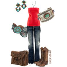 Love the boots, love the turquoise, but mostly I Love that bracelet!!