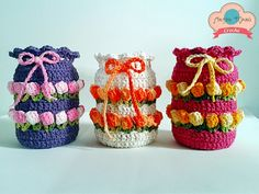 Crochê Gráfico: Capinhas de crochê em ponto tulipa para potes