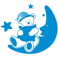 Teddy bear wall decal No11 With a pillow on the Moon