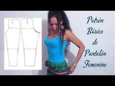 Patrón básico de pantalón femenino | Manualidades