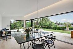 Large slider Light along ceiling perimeter Outdoor Decor, House, Interior, Home, Home Improvement, Dining Table, New Homes, Scandinavian Interior, Interior Inspo