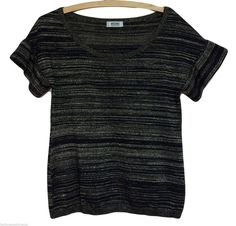 Moschino Cheap  Chic Metallic Stripe Short Sleeve Sweater @Michelle Coleman-HERS