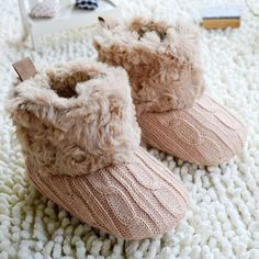 "Infant Baby Crochet/Knit Boots Booties Toddler Girl Winter Snow Crib Shoes ""FREE SHIPPING"""