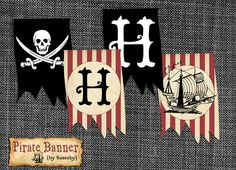 Pirate Boys Birthday Party Banner DIY PRINTABLE FILE by Sassaby