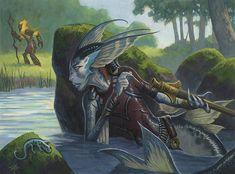 Merfolk from lorwyn Evil Mermaids, Mermaids And Mermen, Fantasy Inspiration, Character Inspiration, Character Design, Magical Creatures, Fantasy Creatures, Fantasy World, Fantasy Art