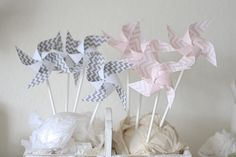 Excited to share this item from my shop: Gray and Pink Chevron Wedding favor, Birthday favor Gray and pink, Chevron Baby Shower Decor Mini Pinwheels (Custom orders welcomed) Birthday Favors, Birthday Party Decorations, Baby Shower Decorations, Wedding Decorations, Circus Decorations, Instead Of Flowers, Paper Pom Poms, Wedding Favors, Party Favors