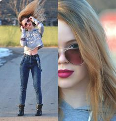 Street jeans and sweater, with ankle boots.