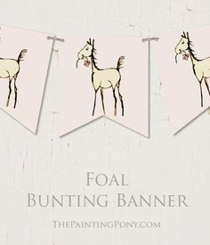 Horse Foal Baby Shower Bunting Flag Banner - The Painting Pony