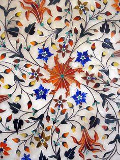 Exquisite Pietra Dura Inlay-work on Marble with Precious Gemstones, Jaipur City Museum, Jaipur, Rajasthan, India. https://www.flickr.com/photos/301202/5014407745/