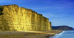 The golden sand cliffs of West Bay Beach, Dorset
