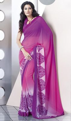 G3 Fashions Shaded Pink Faux Georgette Printed Saree.  Product Code : G3-LS7671 Price : INR RS 1120