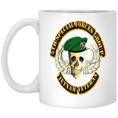 5TH SPECIAL FORCES GROUP SKULL WINGS BERET XP8434 11 oz. White Mug