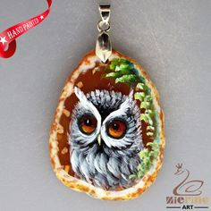 HAND PAINTED OWL BIRD BROWN AGATE SLICE GEMSTONE NECKLACE PENDANT ZL8017884 #ZL #PENDANT