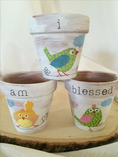 """Easter clay pots, hand decorated, bird flower pots, """" I am Blessed"""", set of by foreverdecoupage on Etsy Painted Clay Pots, Hand Painted, Garden Crafts, Diy Crafts, All That Matters, Fathers Day Crafts, Pot Sets, Succulent Pots, Terracotta Pots"""