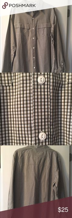 Checkered Columbia Button Down Shirt NWOT Columbia button down shirt is in excellent condition! Colors are shades of brown, tan, and white. 2 pockets. White buttons. Shell: 100% cotton; lining: 65% cotton, 35% polyester. Columbia Shirts Dress Shirts